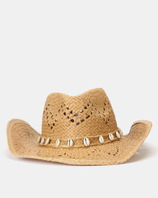 New Look Woven Straw Effect Shell Trim Cowboy Hat Stone