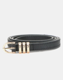 New Look Hammered Keeper Waist Belt Black
