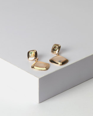 New Look Double Shell Drop Earrings Gold