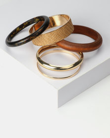 New Look 6 Pack Woven Raffia and Wood Bangles Brown