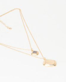 New Look Shell Pendant Layered Necklace Gold