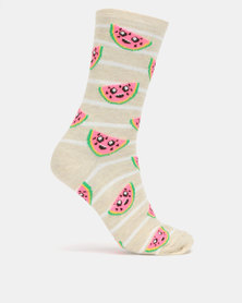 New Look 1 Pair Watermelon Socks Cream