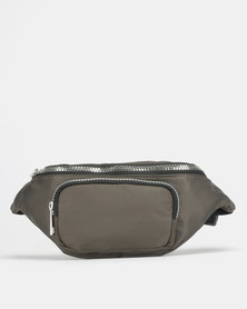 New Look High Shine Utility Bum Bag Khaki