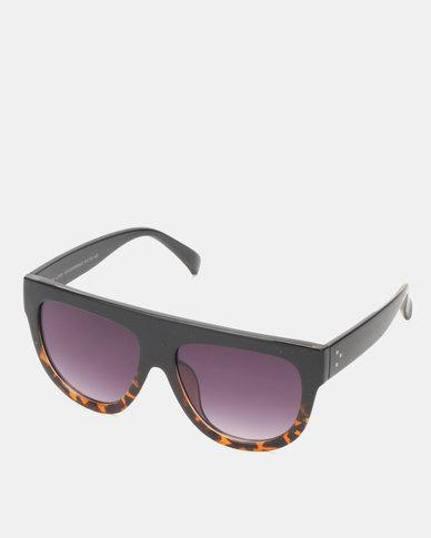 New Look Tinted Faux Tortoiseshell Flat Top Sunglasses Black