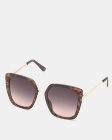 New Look Square Faux Tortoiseshell Sunglasses Dark Brown