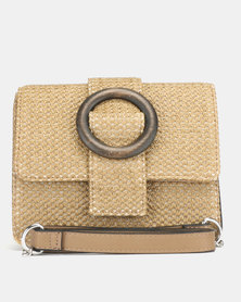 New Look Woven Straw Effect Cross Body Bag Stone