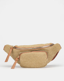 New Look Woven Straw Panel Bum Bag Stone