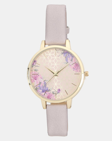 New Look Floral Face Watch Light Purple