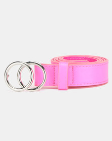 New Look Neon Double Circle Belt Bright Pink