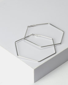 New Look Hexagon Hoop Earrings Silver