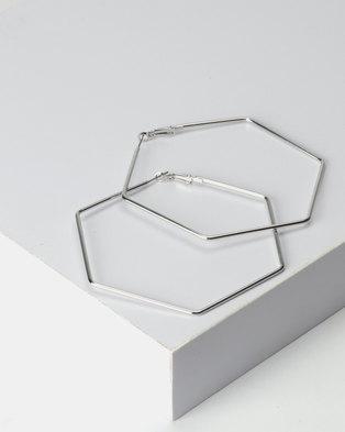 New Look Hexagon Hoop Earrings Silver