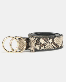 New Look Faux Snake Circle Buckle Belt Camel