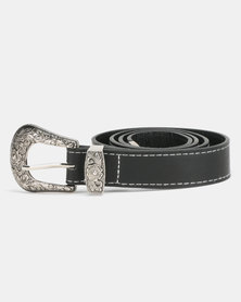 New Look Leather-Look Contrast Stitch Western Belt Black