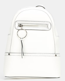 New Look Ring Zip Utility Mini Backpack White