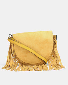 New Look Suedette Fringe Cross Body Bag Yellow