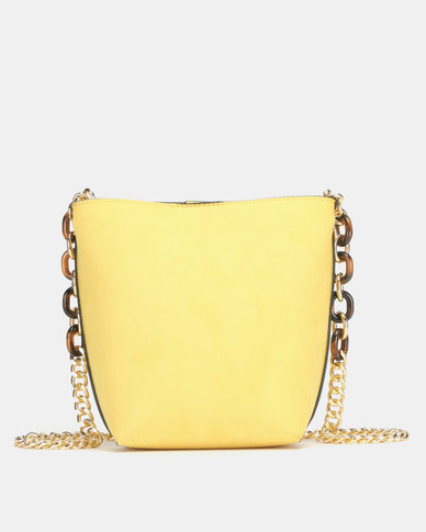 New Look Suedette Resin Chain Bucket Bag Yellow
