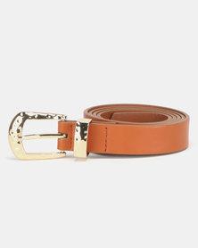 New Look Suedette Hammered Buckle Belt Tan