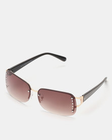 New Look Diamante Rimless Sunglasses Brown