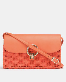 New Look Straw Effect Cross Body Bag Bright Orange