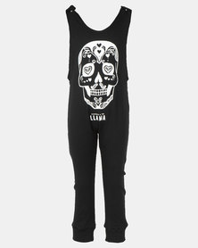 Phoenix & the Llama Sugar Skull Romper Black