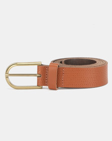 New Look Leather Perforated Belt Tan