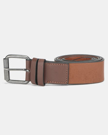 New Look Double Keeper Textured Belt Rust