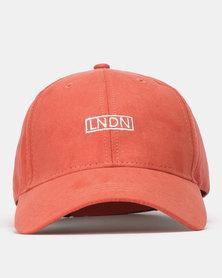 New Look Suedette LNDN Slogan Cap Rust