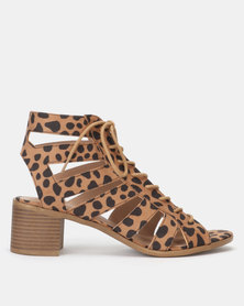 New Look Animal Print Lace Up Ghillie Sandals Brown Pattern