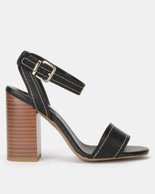 New Look Contrast Stitch Block Heel Sandals Black
