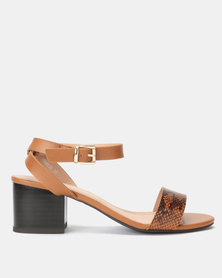 New Look Faux Snake and Leather-Look Heeled Sandals Brown Pattern