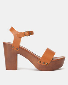 New Look 2 Part Wood Platform Block Heels Tan