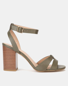 New Look Leather-Look Wood Block Heels Dark Khaki