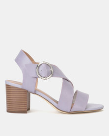 New Look Leather-Look Cross Strap Block Heels Lilac