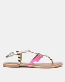 New Look Leather Zebra Print Strap Sandals Stone