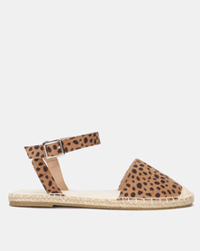 New Look Animal Print Ankle Strap Espadrilles Brown Pattern