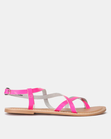Strappy Leather Sandals Pink New Neon Flat Look kZuTXiOP