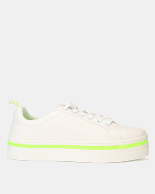 New Look Neon Trim Lace Up Trainers White