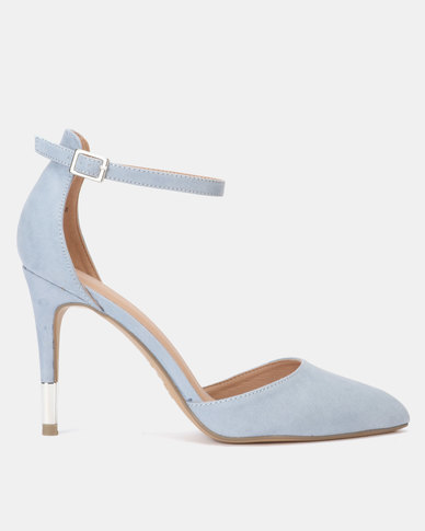 New Look Suedette Ankle Strap Stiletto Courts Light Blue