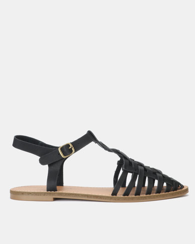 New Look Leather-Look T-Bar Caged Sandals Black