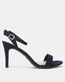 New Look Suedette Ankle Strap Stiletto Heels Navy