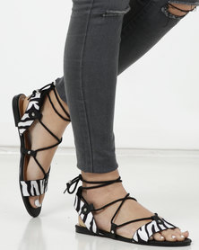 New Look Zebra Print Ankle Tie Ghillie Sandals Black