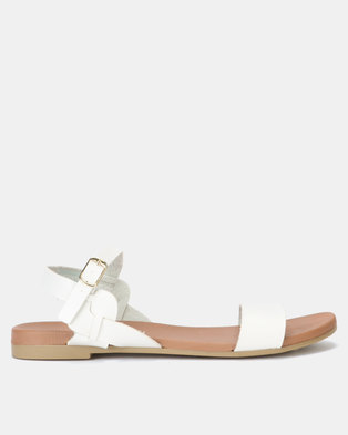 New Look Leather-Look Twist Strap Footbed Sandals White