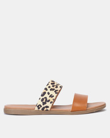 New Look Leather-Look ?Leopard Print Strap Footbed Sliders Stone