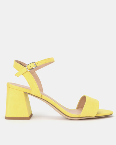 New Look Suedette Flared Low Block Heels Bright Yellow
