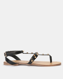 New Look Leather Stud Strap Sandals Black