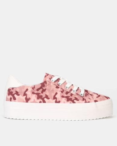 New Look Camo Print Lace Up Flatform Trainers Pink Pattern