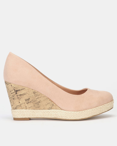 New Look Comfort Espadrille Cork Effect Wedges Oatmeal