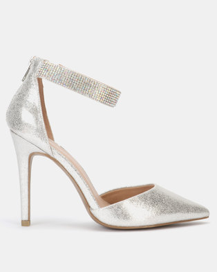 New Look Glitter Diamante Strap Court Shoes Silver