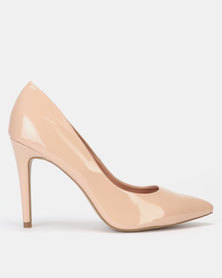 New Look Patent Stiletto Heel Pointed Courts Oatmeal