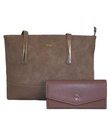 Fino Pu Leather Tote Handbag & Purse Set - Dusty Pink